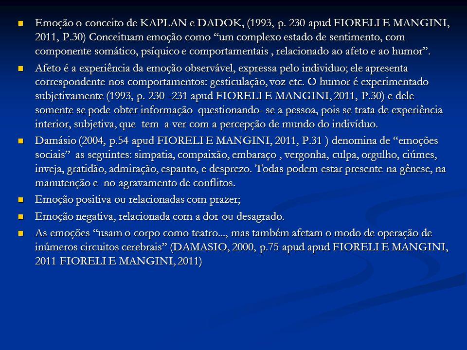 Emoção o conceito de KAPLAN e DADOK, (1993, p