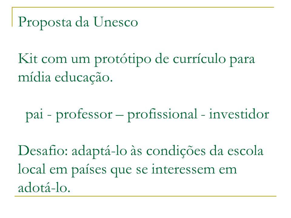 Proposta da Unesco Kit com um protótipo de currículo para mídia educação.