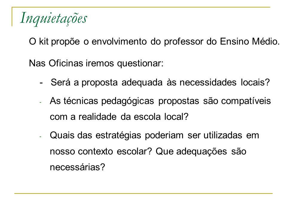 Inquietações O kit propõe o envolvimento do professor do Ensino Médio.