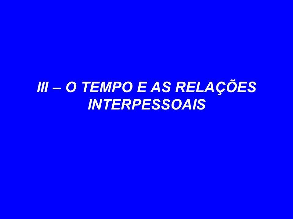 III – O TEMPO E AS RELAÇÕES INTERPESSOAIS