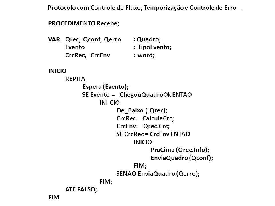 Protocolo com Controle de Fluxo, Temporização e Controle de Erro