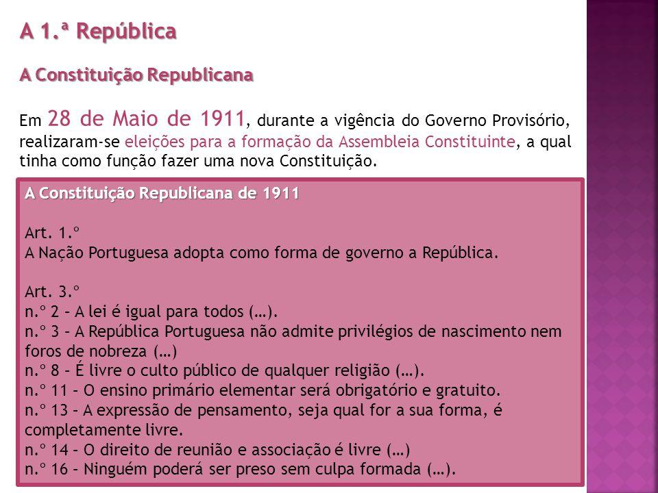A 1.ª República A Constituição Republicana