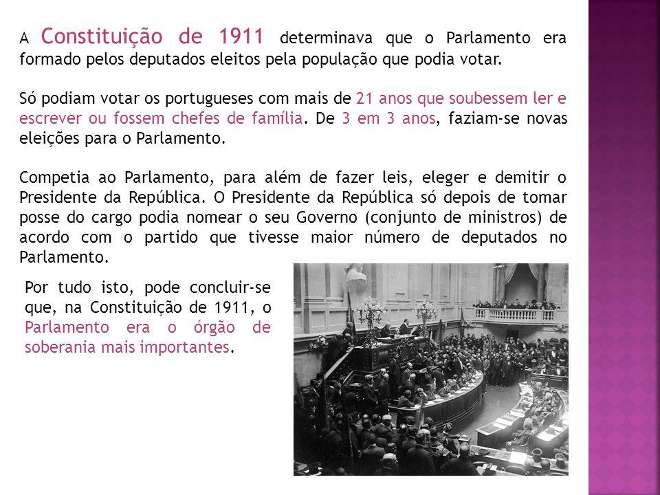 A Constituição de 1911 determinava que o Parlamento era formado pelos deputados eleitos pela população que podia votar.