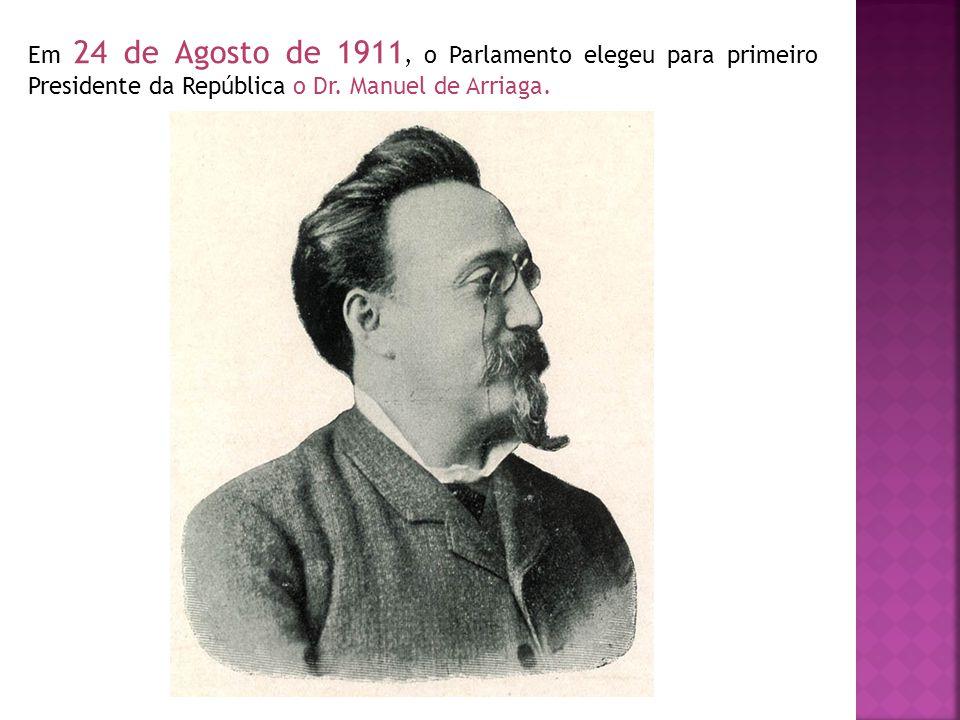 Em 24 de Agosto de 1911, o Parlamento elegeu para primeiro Presidente da República o Dr.