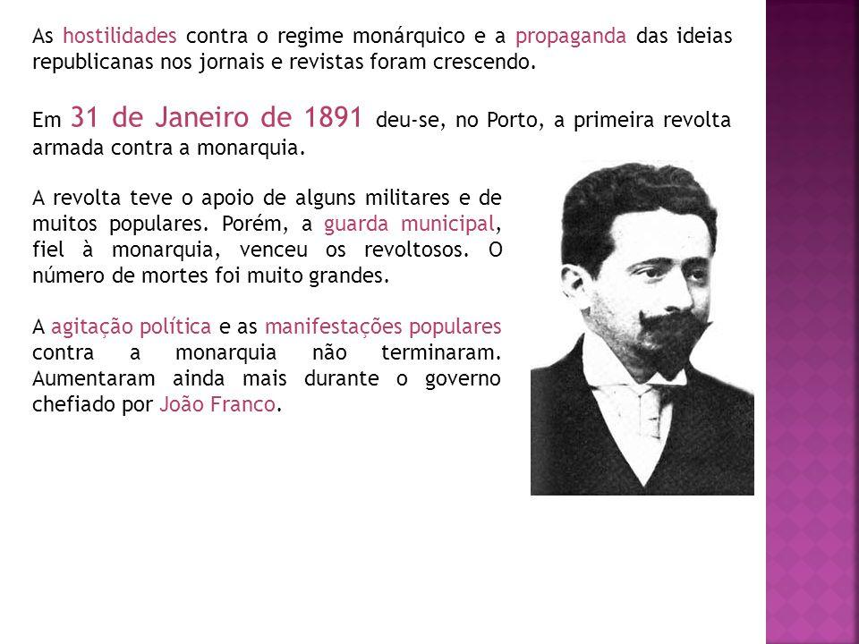 As hostilidades contra o regime monárquico e a propaganda das ideias republicanas nos jornais e revistas foram crescendo.