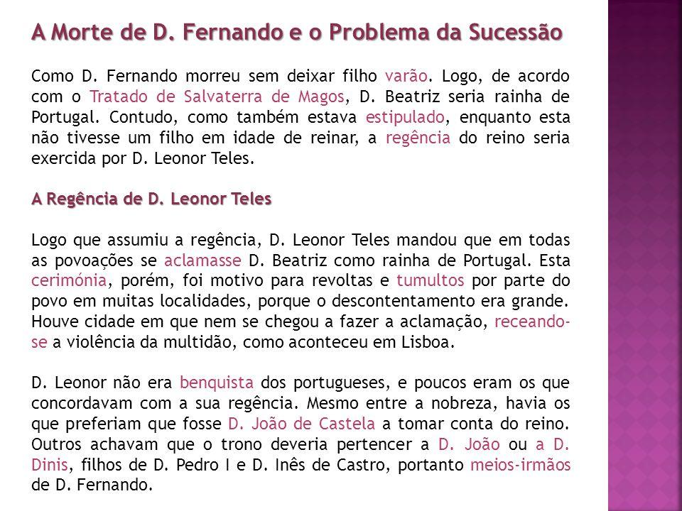 A Morte de D. Fernando e o Problema da Sucessão