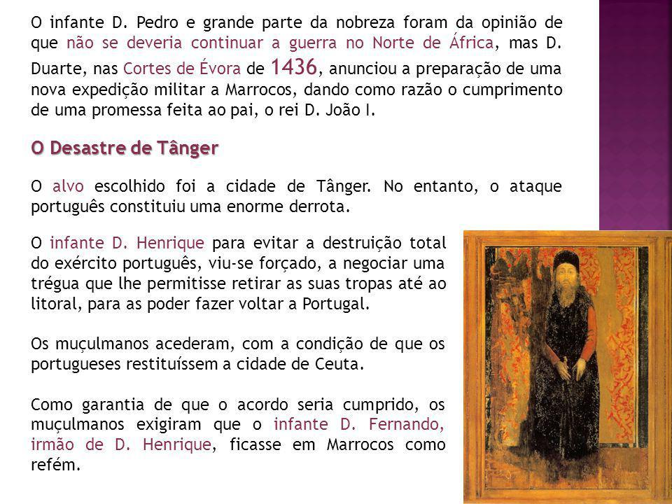 O infante D. Pedro e grande parte da nobreza foram da opinião de que não se deveria continuar a guerra no Norte de África, mas D. Duarte, nas Cortes de Évora de 1436, anunciou a preparação de uma nova expedição militar a Marrocos, dando como razão o cumprimento de uma promessa feita ao pai, o rei D. João I.