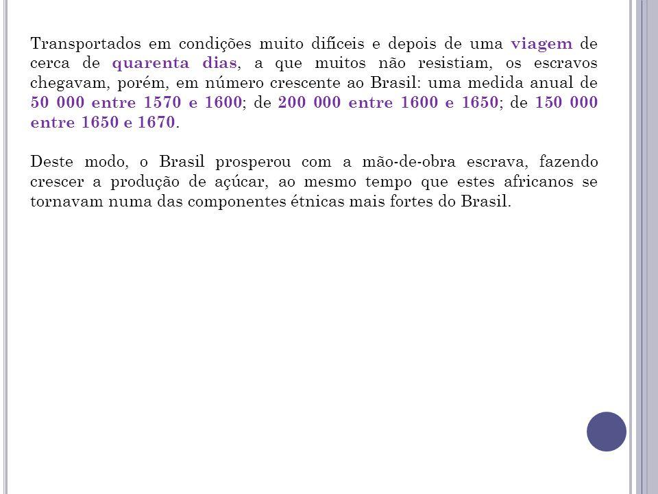 Transportados em condições muito difíceis e depois de uma viagem de cerca de quarenta dias, a que muitos não resistiam, os escravos chegavam, porém, em número crescente ao Brasil: uma medida anual de 50 000 entre 1570 e 1600; de 200 000 entre 1600 e 1650; de 150 000 entre 1650 e 1670.