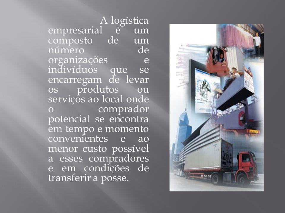 A logística empresarial é um composto de um número de organizações e indivíduos que se encarregam de levar os produtos ou serviços ao local onde o comprador potencial se encontra em tempo e momento convenientes e ao menor custo possível a esses compradores e em condições de transferir a posse.
