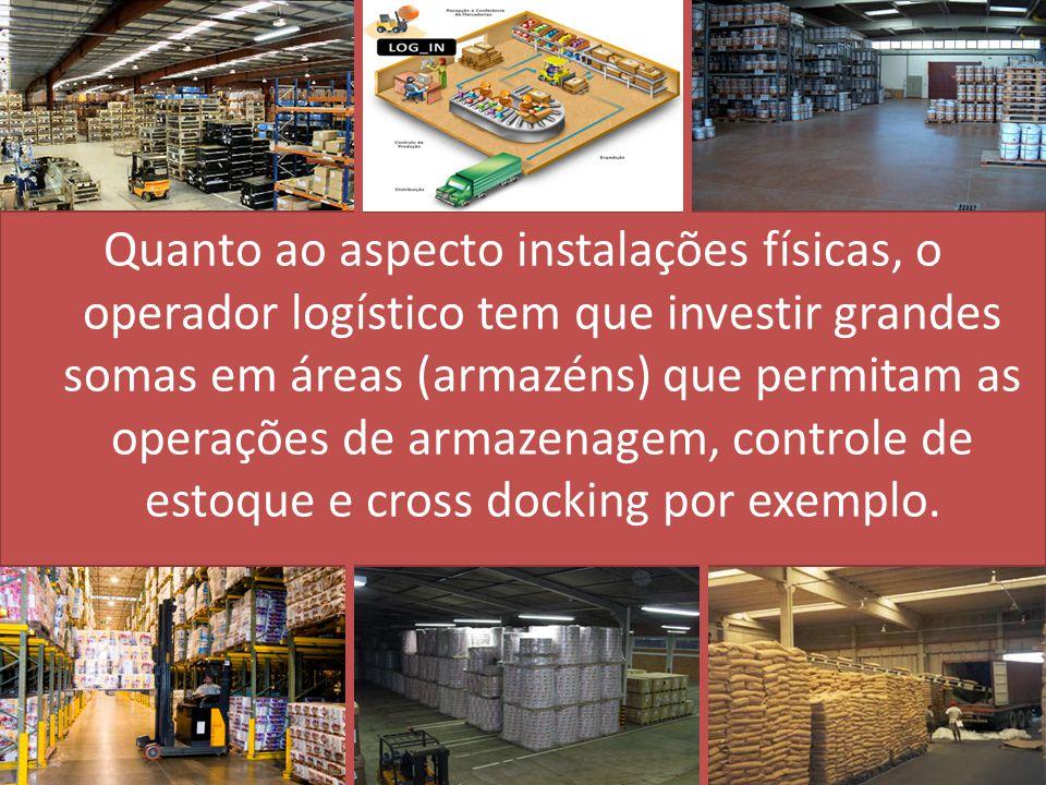 Quanto ao aspecto instalações físicas, o operador logístico tem que investir grandes somas em áreas (armazéns) que permitam as operações de armazenagem, controle de estoque e cross docking por exemplo.
