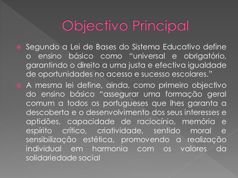Objectivo Principal