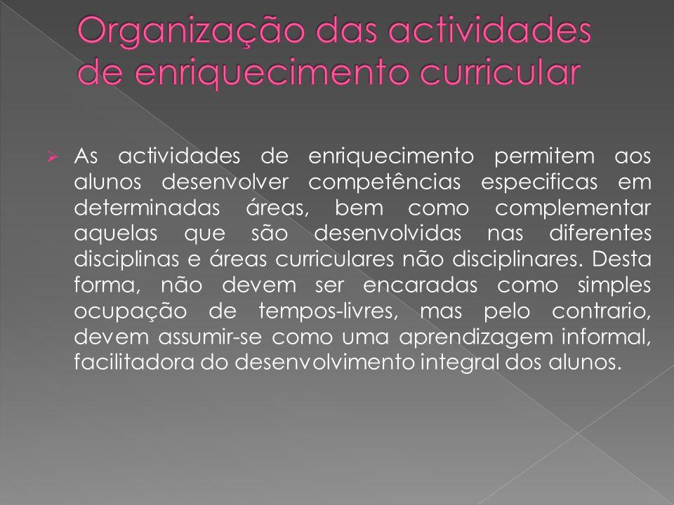 Organização das actividades de enriquecimento curricular