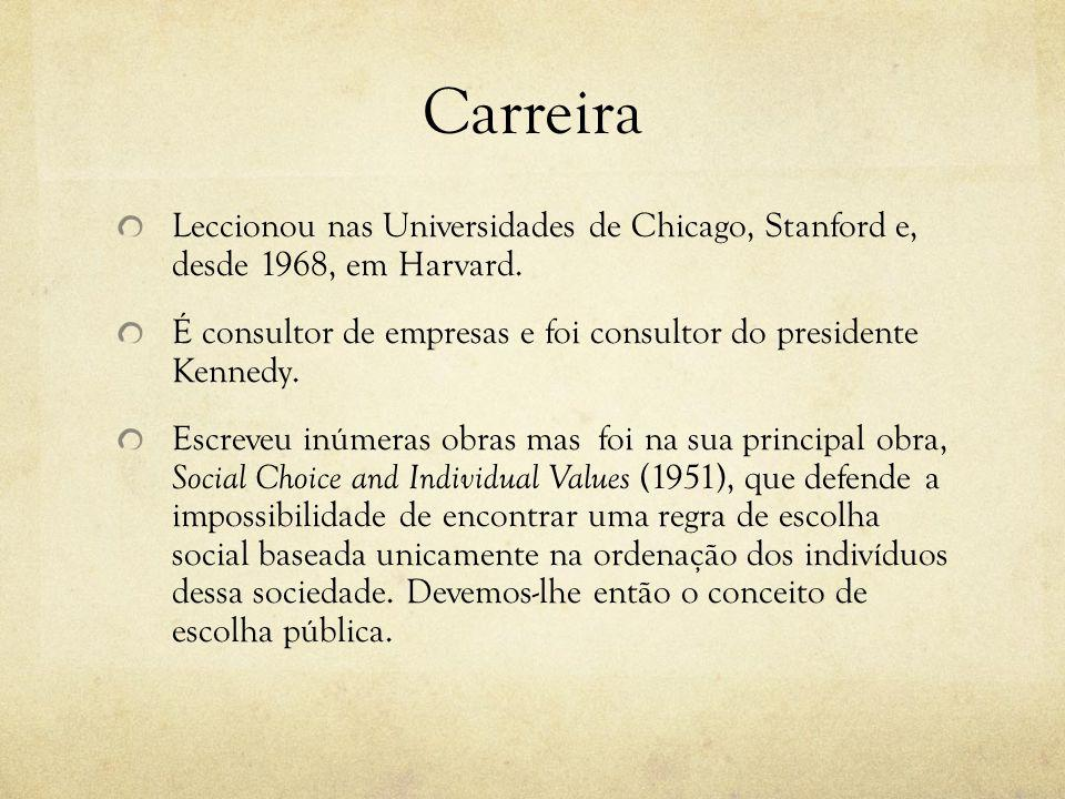 Carreira Leccionou nas Universidades de Chicago, Stanford e, desde 1968, em Harvard.