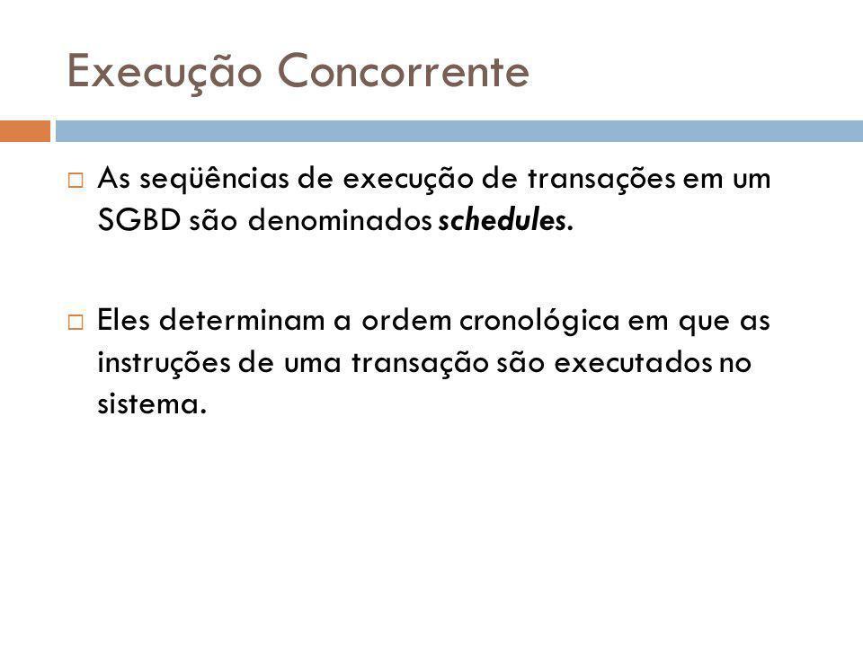 Execução Concorrente As seqüências de execução de transações em um SGBD são denominados schedules.