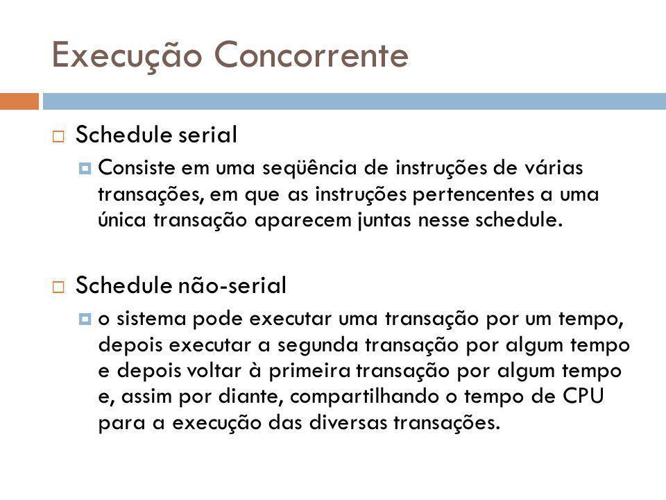Execução Concorrente Schedule serial Schedule não-serial