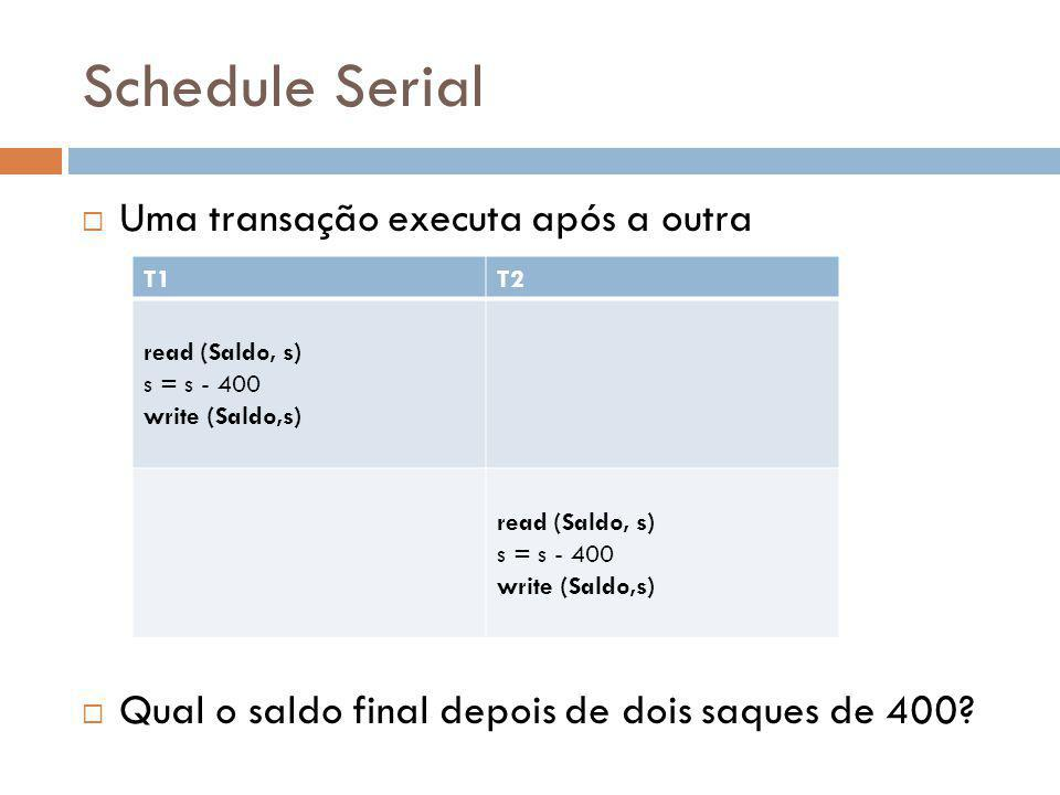 Schedule Serial Uma transação executa após a outra