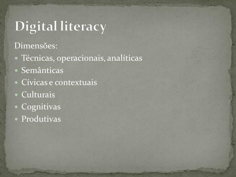 Digital literacy Dimensões: Técnicas, operacionais, analíticas