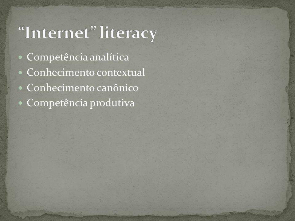 Internet literacy Competência analítica Conhecimento contextual