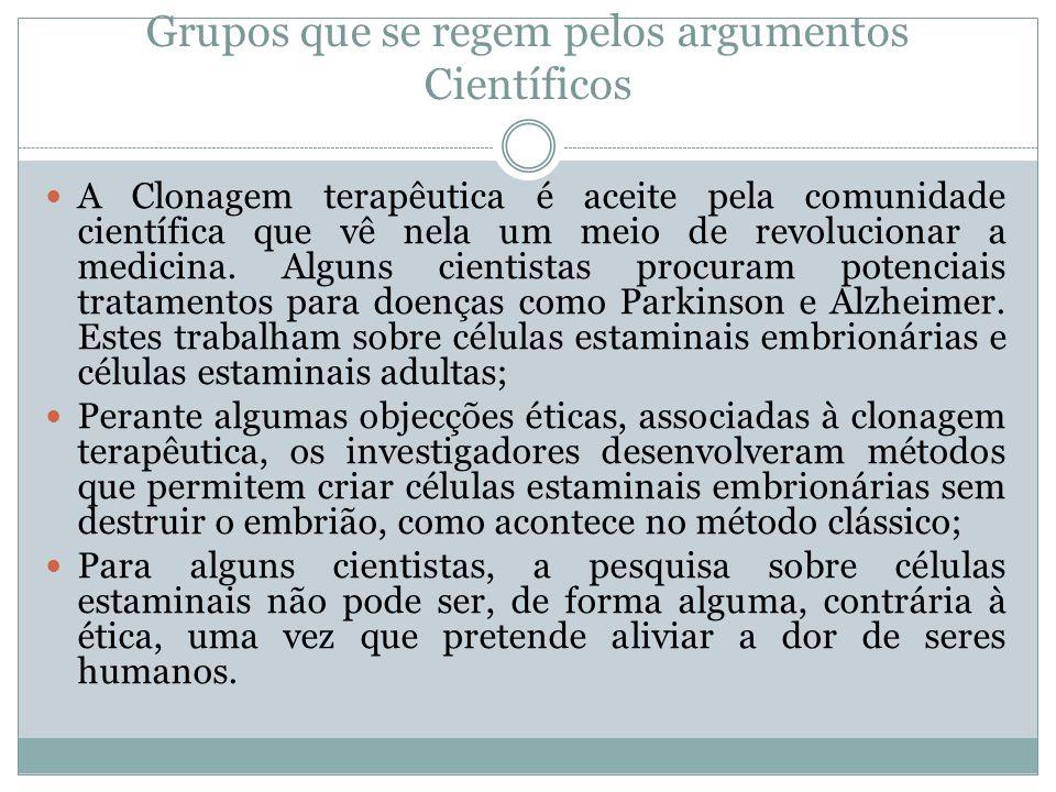 Grupos que se regem pelos argumentos Científicos