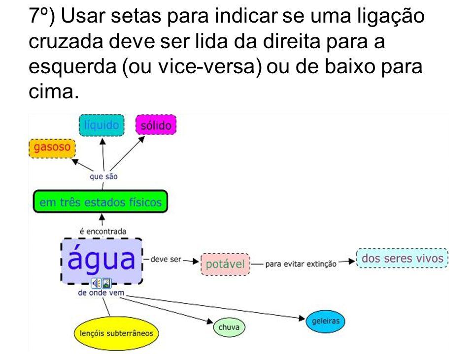 7º) Usar setas para indicar se uma ligação cruzada deve ser lida da direita para a esquerda (ou vice-versa) ou de baixo para cima.