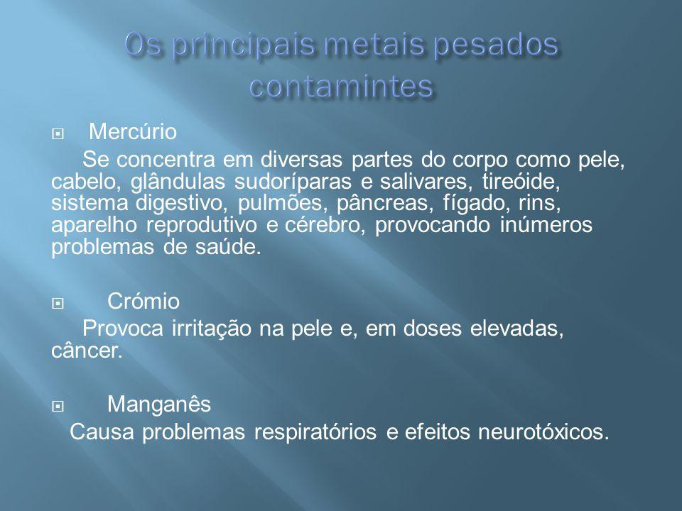 Os principais metais pesados contamintes