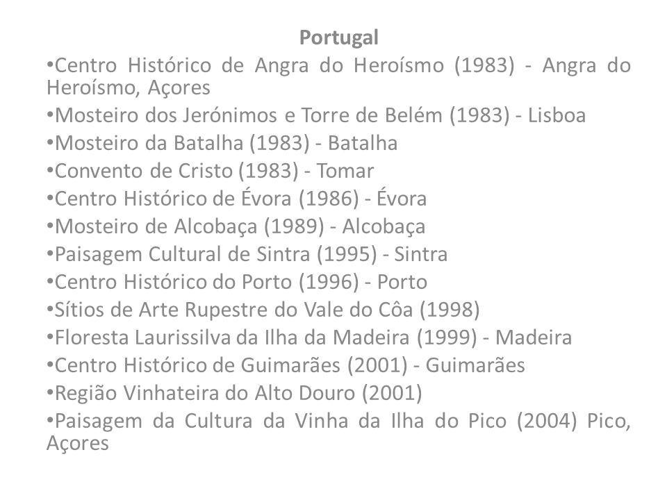 Portugal Centro Histórico de Angra do Heroísmo (1983) - Angra do Heroísmo, Açores. Mosteiro dos Jerónimos e Torre de Belém (1983) - Lisboa.