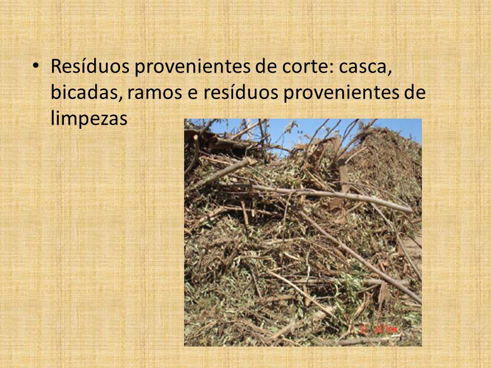 Resíduos provenientes de corte: casca, bicadas, ramos e resíduos provenientes de limpezas