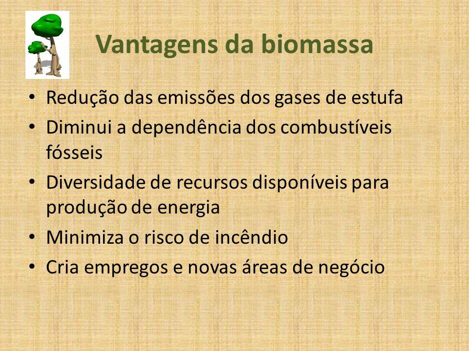 Vantagens da biomassa Redução das emissões dos gases de estufa