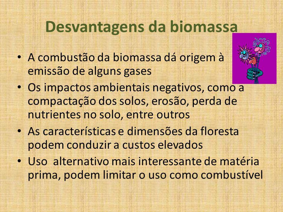 Desvantagens da biomassa