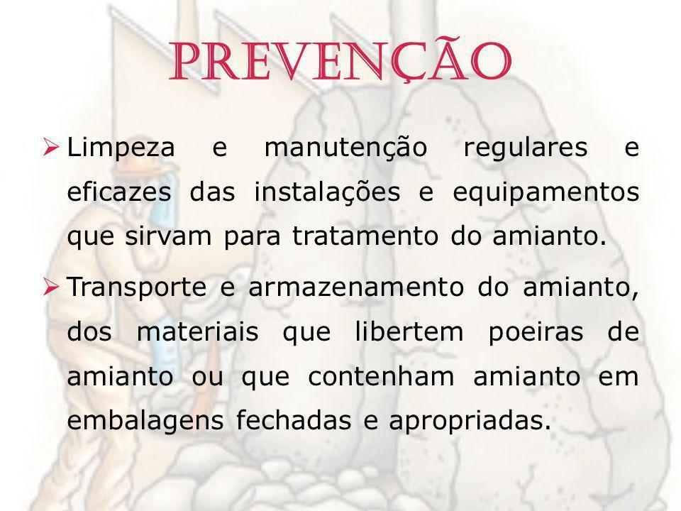 Prevenção Limpeza e manutenção regulares e eficazes das instalações e equipamentos que sirvam para tratamento do amianto.