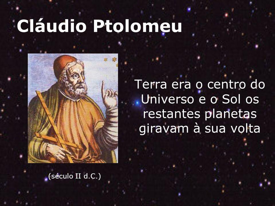 Cláudio Ptolomeu (século II d.C.) Terra era o centro do Universo e o Sol os restantes planetas giravam à sua volta.