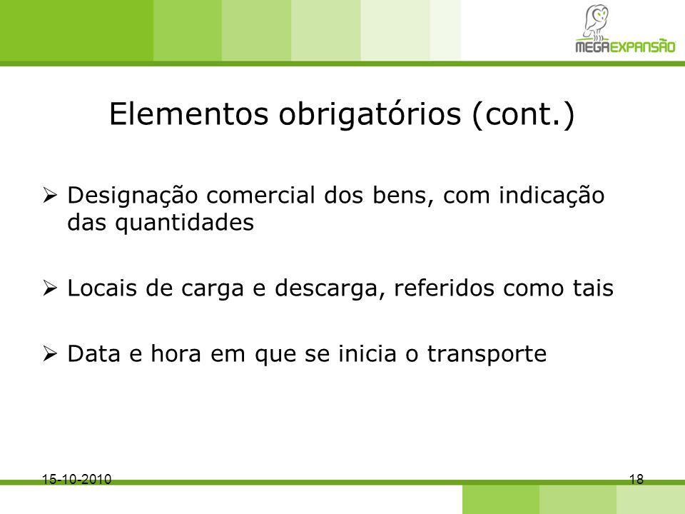 Elementos obrigatórios (cont.)