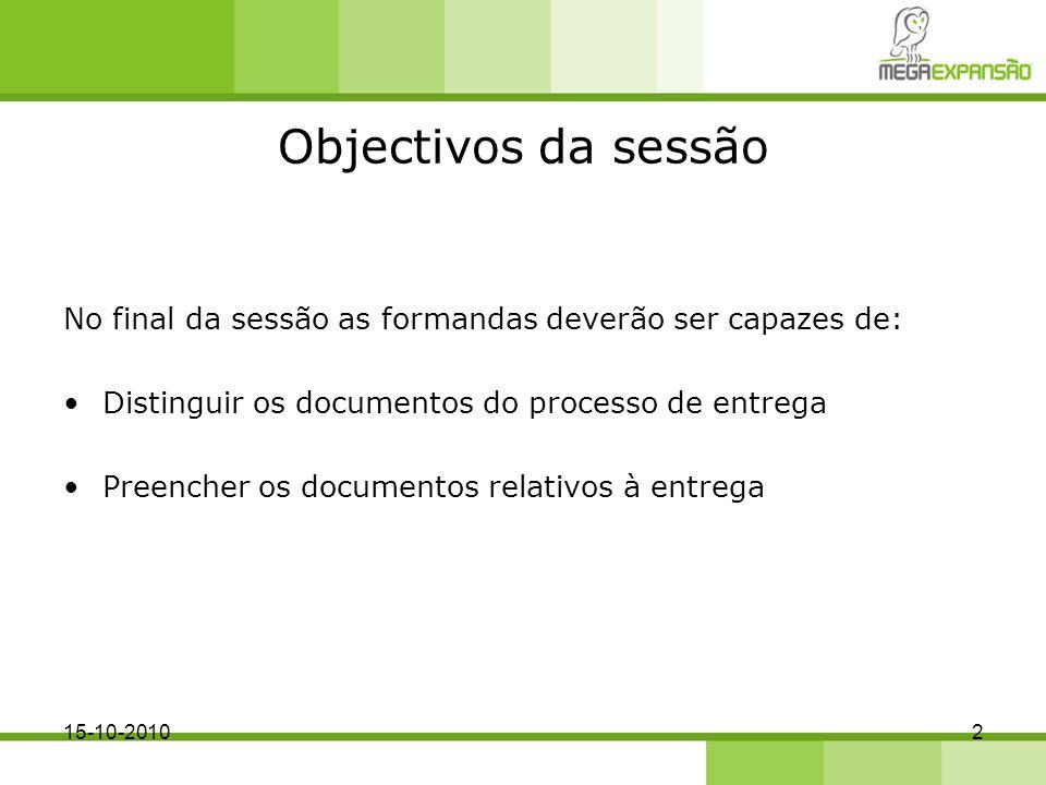 Objectivos da sessão No final da sessão as formandas deverão ser capazes de: Distinguir os documentos do processo de entrega.