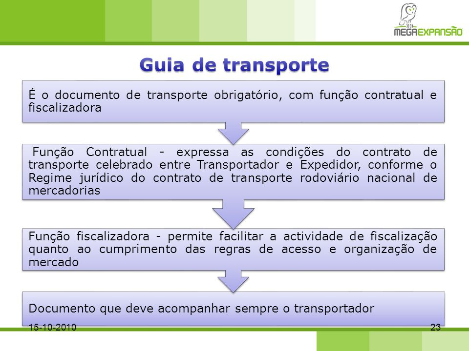 Guia de transporte É o documento de transporte obrigatório, com função contratual e fiscalizadora.