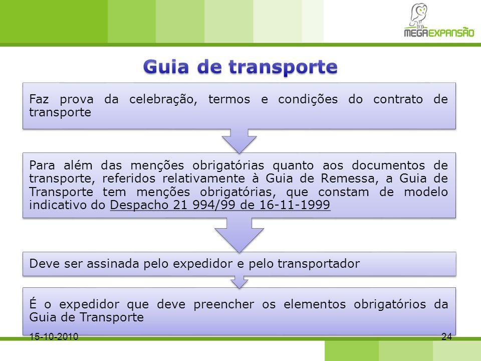 Guia de transporte Faz prova da celebração, termos e condições do contrato de transporte.
