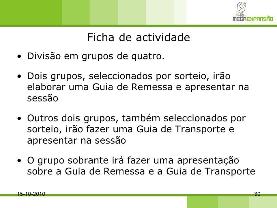 Ficha de actividade Divisão em grupos de quatro.