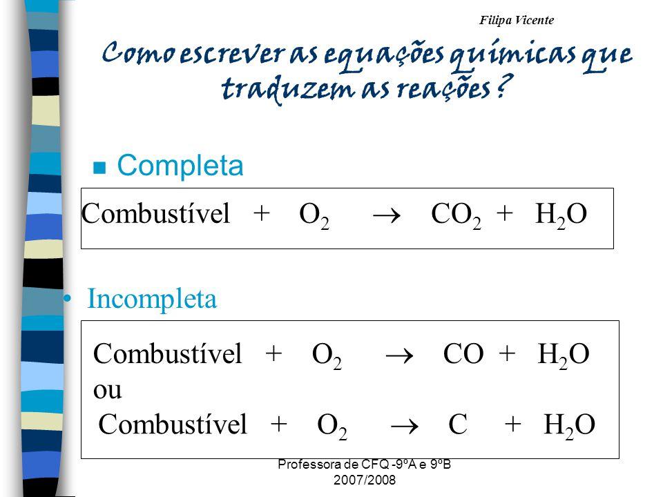 Como escrever as equações químicas que traduzem as reações