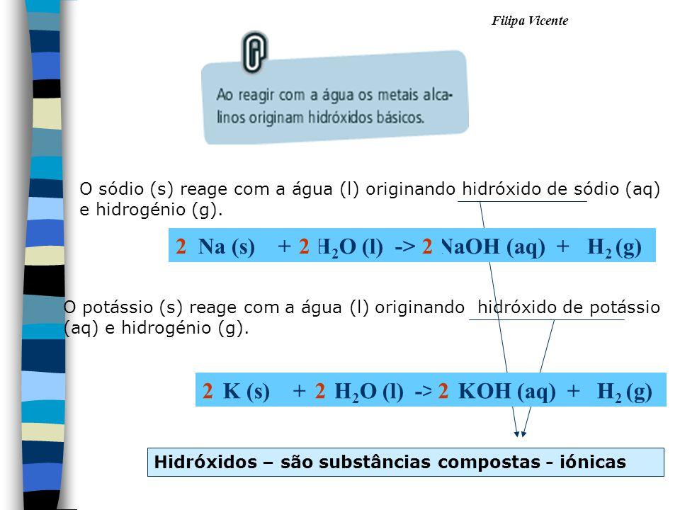 Na (s) + H2O (l) -> NaOH (aq) + H2 (g) 2 2