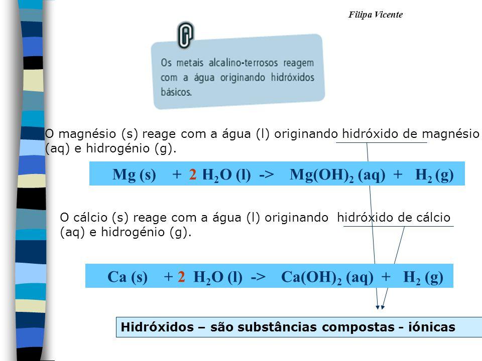 Mg (s) + H2O (l) -> Mg(OH)2 (aq) + H2 (g) 2