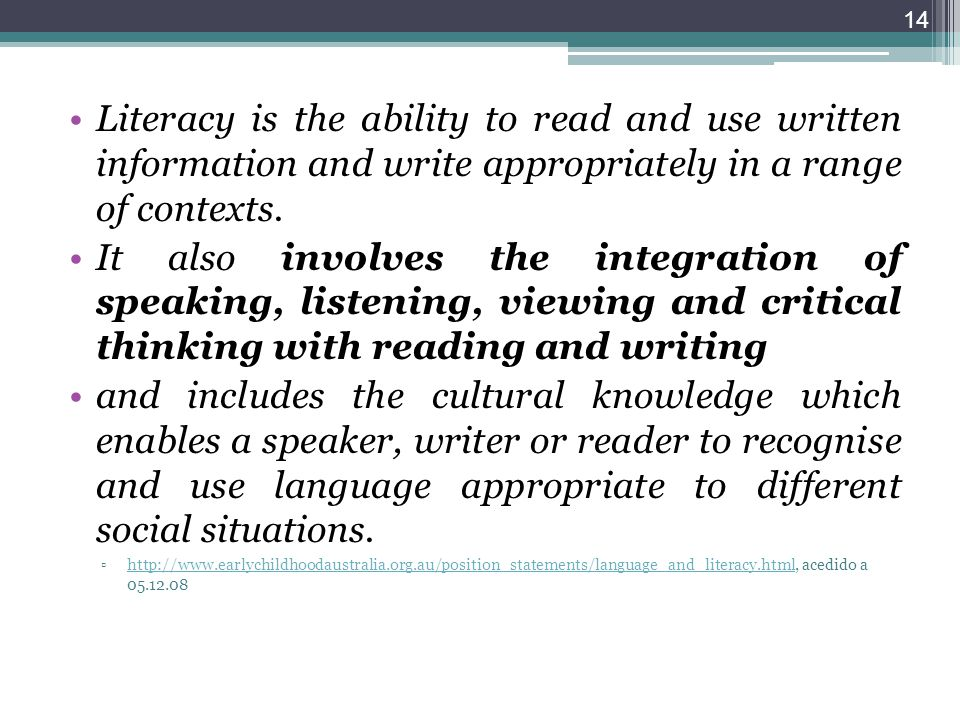 Literacy is the ability to read and use written information and write appropriately in a range of contexts.