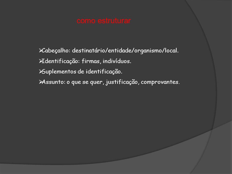 como estruturar Cabeçalho: destinatário/entidade/organismo/local.