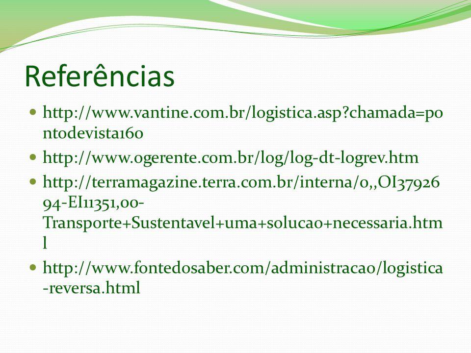 Referências http://www.vantine.com.br/logistica.asp chamada=pontodevista160. http://www.ogerente.com.br/log/log-dt-logrev.htm.