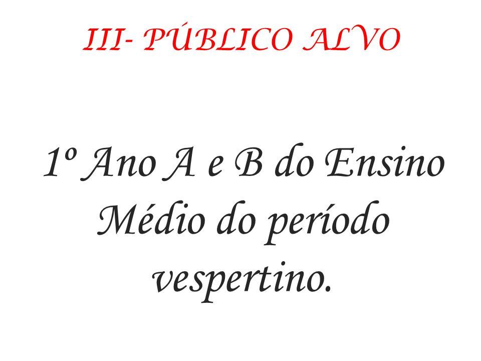 1º Ano A e B do Ensino Médio do período vespertino.