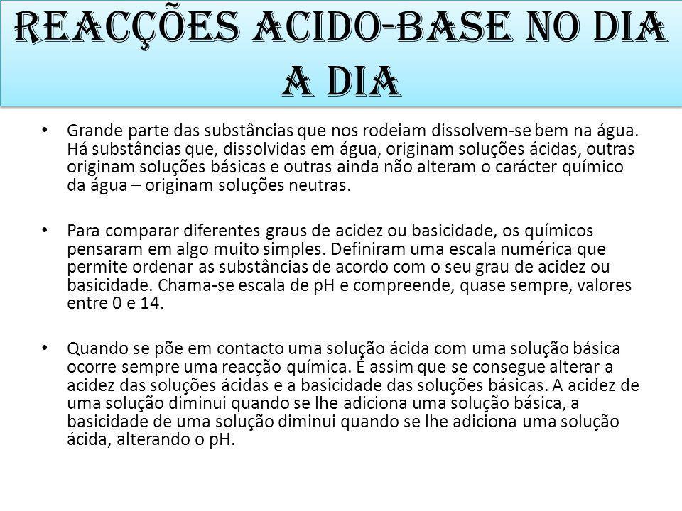 Reacções acido-base no dia a dia