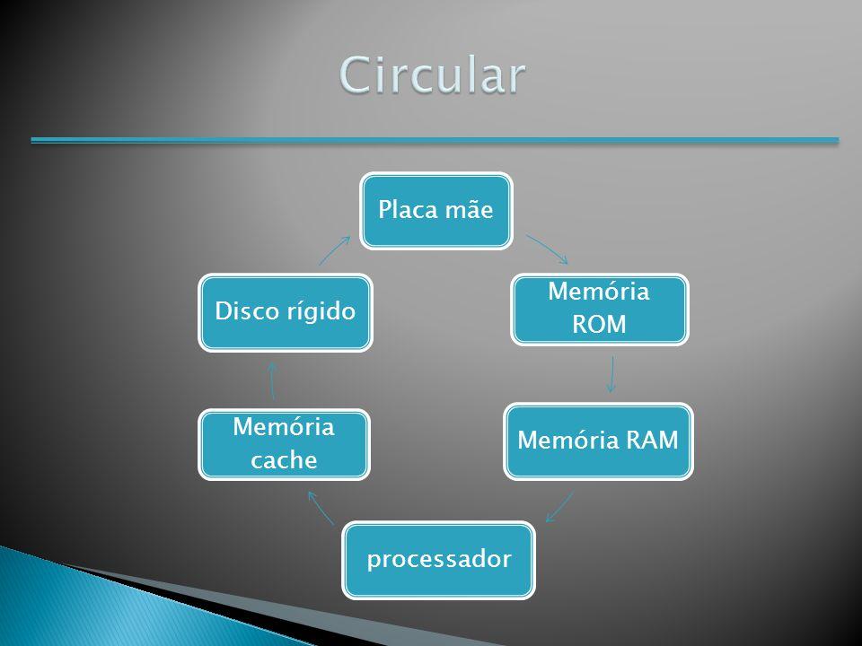 Circular Placa mãe Memória ROM Disco rígido Memória cache Memória RAM