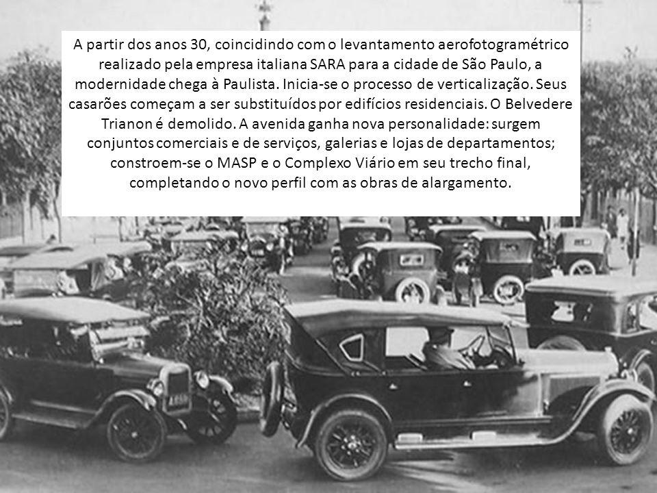 A partir dos anos 30, coincidindo com o levantamento aerofotogramétrico realizado pela empresa italiana SARA para a cidade de São Paulo, a modernidade chega à Paulista.
