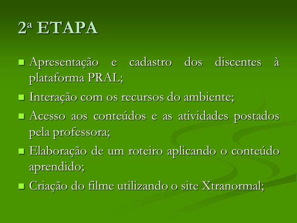 2a ETAPA Apresentação e cadastro dos discentes à plataforma PRAL;