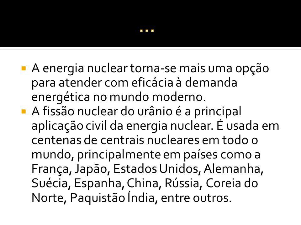 … A energia nuclear torna-se mais uma opção para atender com eficácia à demanda energética no mundo moderno.