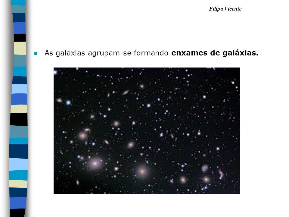 As galáxias agrupam-se formando enxames de galáxias.