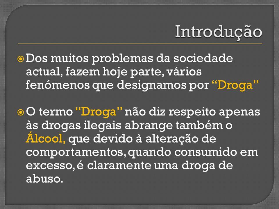 Introdução Dos muitos problemas da sociedade actual, fazem hoje parte, vários fenómenos que designamos por Droga